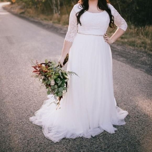 Plus size modest wedding gown